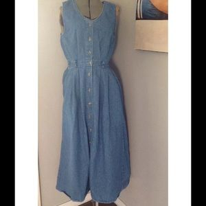 VTG 90S LL BEAN  BUTTON DOWN JEAN DRESS JUMPER 6P
